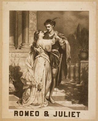a poster advertising Shakespeare's play Romeo and Juliet.