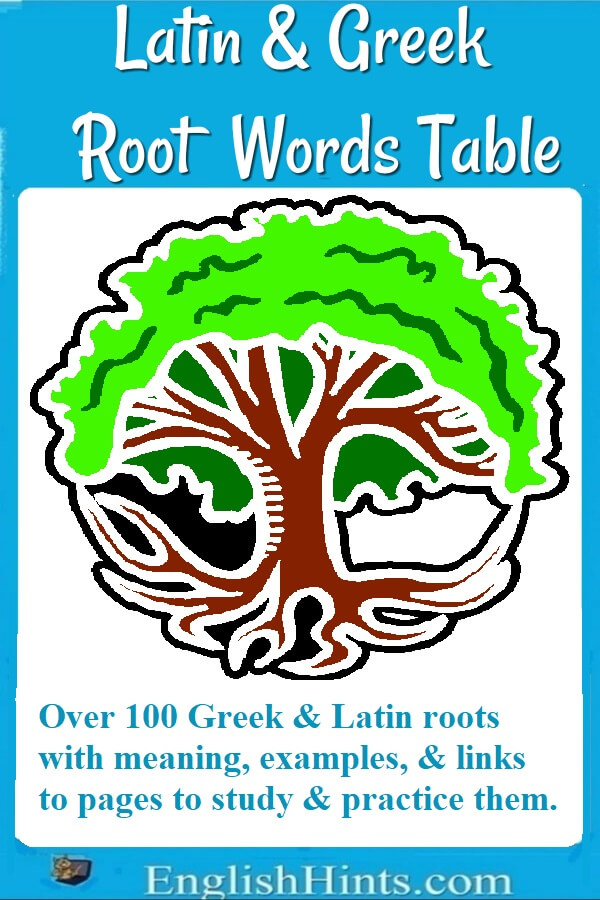 Image of a tree with roots, & text:
