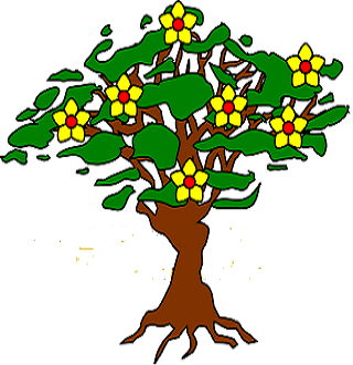 clipart of a flowering tree with roots exposed