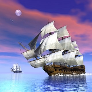 old sailing ships on the sea at sunset