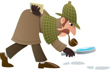 Sherlock Holmes with a magnifying glass following footprints.