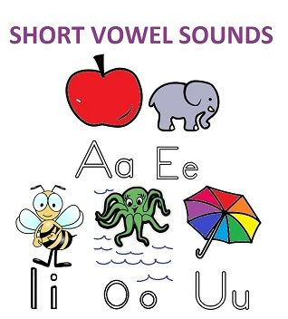 the short vowels are the 1st sounds of apple-A, elephant-E, insect-I, octopus-O, & umbrella-U (all pictured)