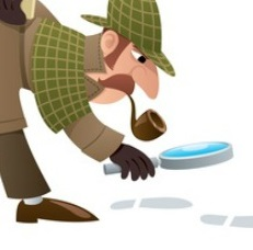 Sherlock Holmes with a magnifying glass following tracks