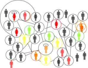 figures of people connected by lines into a network