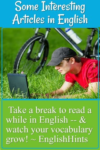 Young man resting on the grass next to his bike, reading on his laptop. text: Take a break to read awhile in English-- & watch your vocabulary grow!