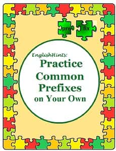 Circled title surrounded by a border of green, yellow, orange, and red puzzle pieces, with the word 'prefix' spelled out on puzzle pieces. The page background is orange-yellow.