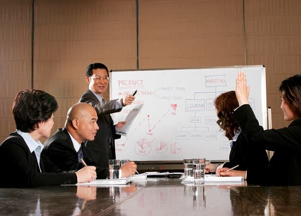 Businessman giving a presentation & answering questions