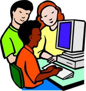 3 students using the Internet