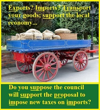 Picture of a cart with bags of grain and a caption illustrating prefixes: export? import? transport-- to support the local economy-- with other common prefixes.