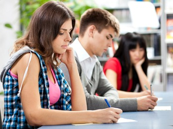 students taking a quiz