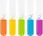a row of test tubes with different colored liquids