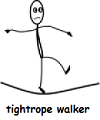 a drawing of a man walkiing on a tightrope.