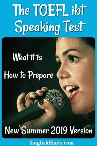 Photo of a young lady speaking into a microphone. Text: The TOEFL ibt Speaking Test What it is  How to Prepare New Summer 2019 Version