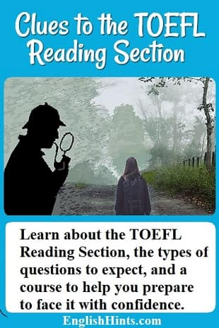 Image: a Sherlock-like detective inspects a scene: a girl on a foggy road. Text: 'Learn about the TOEFL Reading Test, the types of questions to expect, & a course to help you face it with confidence.'