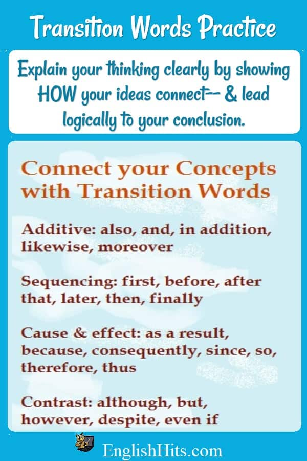 Examples of different types of transition words