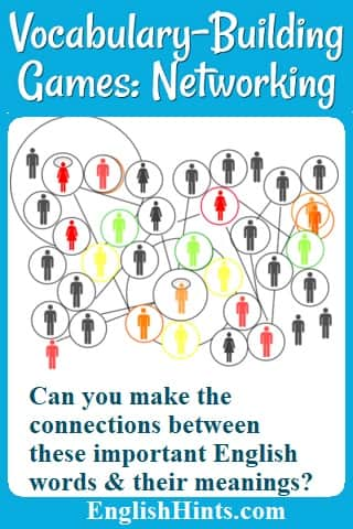 Picture of a network of connections between people with the question: 'Can you make the connections between these important English words and their meanings?'