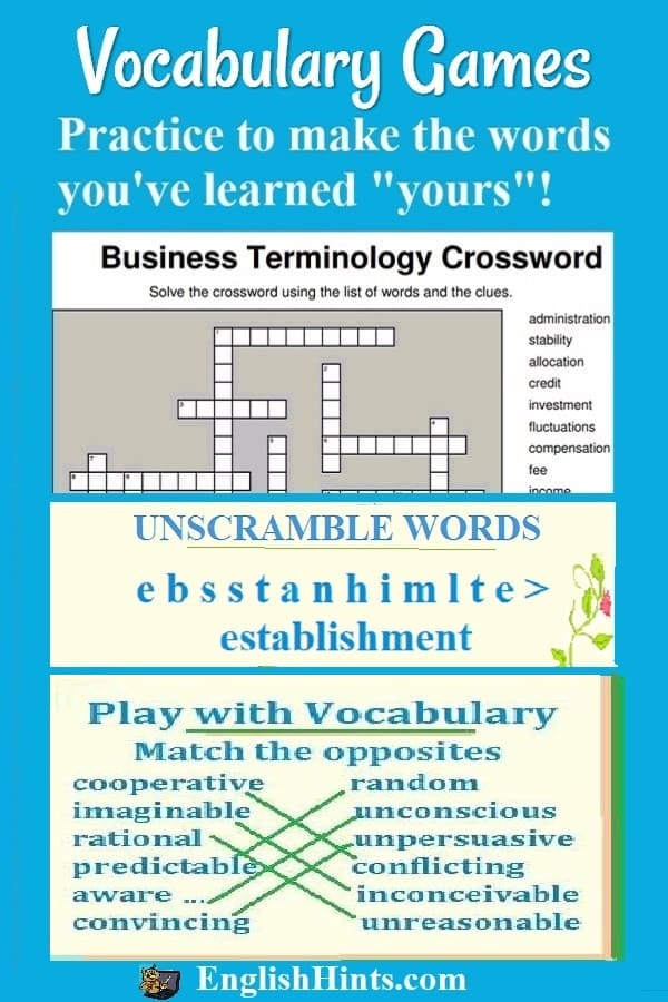 Practice important academic vocabulary with these puzzles, matching, and unscramble word games.  (A business vocabulary crossword and vocabulary games for matching &  unscrambling words are shown.)