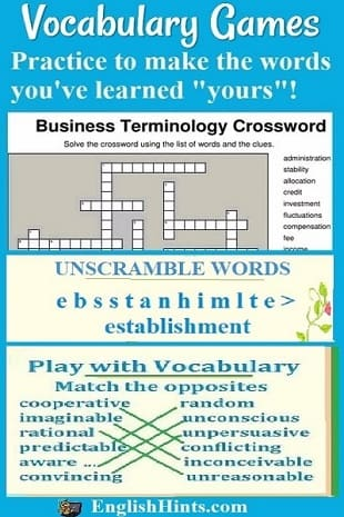 Vocabulary Games 'Practice to make the words you've learned yours!' (A business vocabulary crossword and vocabulary games for matching &  unscrambling words are shown.)