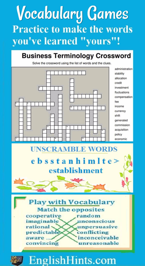 Practice important academic vocabulary with these puzzles, matching, and unscramble word games.  (A business vocabulary crossword and a matching & unscramble words game are shown.)