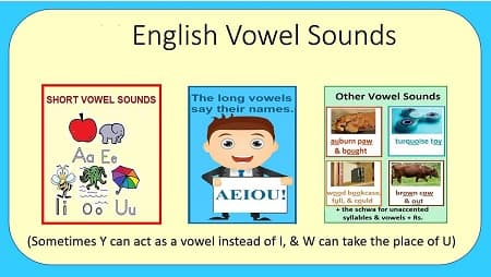 Pictures of 3 kinds of vowel sounds: short (a box with an apple, elephant, insect, octopus, & umbrella), long (text: 'The long vowels say their names: AEIOU') & other (a paw, toy, bookcase, & cow.)