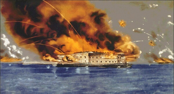 Ft. Sumter under bombardment, with lots of smoke and flame in this old drawing