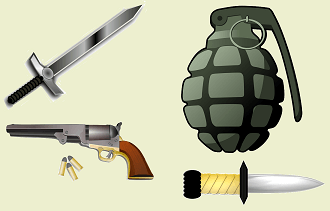illustrations of weapons: a sword, a pistol (handgun), a grenade, and a knife