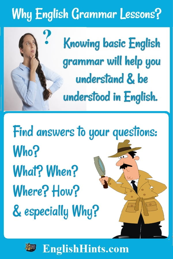 Images:  questioning lady & detective. Text: Knowing basic English grammar will help you understand & be understood in English. 'Find answers to your questions: Who, what, when, where, how, &... why?'