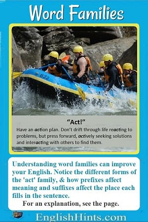 Photo of people paddling a raft, with a caption: 'Act! Have an action plan. Don't drift through life reacting... but press forward actively...'-- plus a discussion of the forms of 'act.'