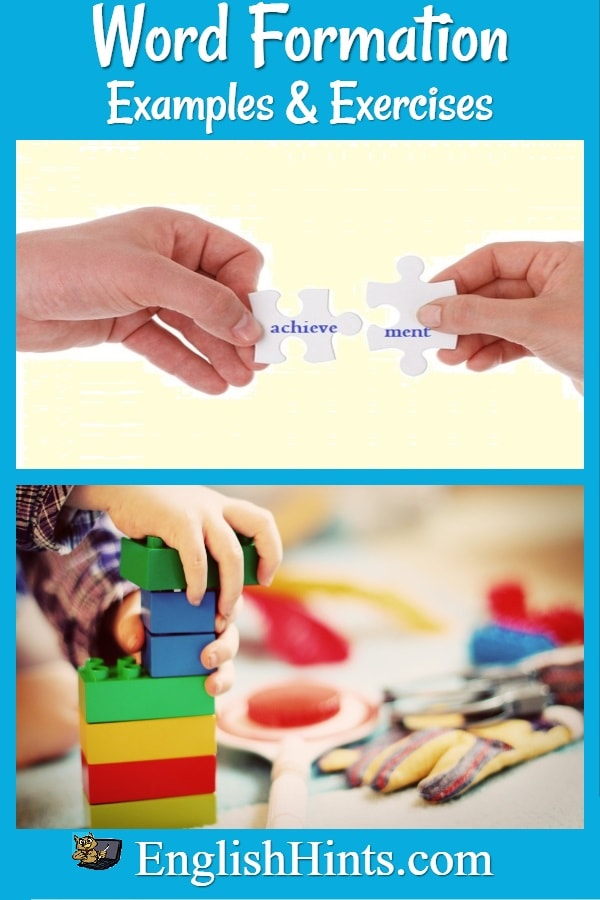 Title with message: 'Learn and practice forming words in English' and pictures: joining two puzzle pieces to form the word 'achievement' and a child building with blocks.